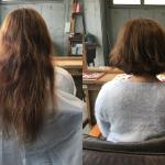 バサバサ広がりの気になる髪はくせ毛を生かしたふわふわボブに。